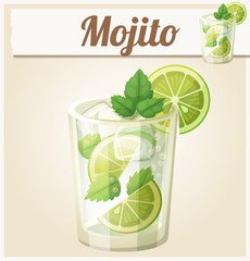 Mojito illustration. Cartoon vector icon. Series of food and drink and ingredients for cooking.