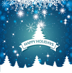 lovely card happy holidays landscape tree snowflake blue background vector illustration eps 10