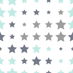 Seamless background with colorful stars on a white background.