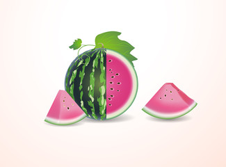 set with full watermelon and some pieces of it  leaves on wh