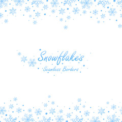 Seamless winter borders with light blue snowflakes on white background. Vector illustration.