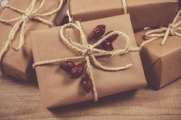 Rustic gift box with kraft paper. Christmas gift.