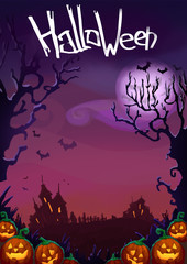 Happy Halloween background. Cute Halloween Characters design. Halloween pumpkins and dark castle on violet Moon  illustration and flyer