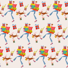 Shopping time. Man holding a pile of gift boxes. Seamless background pattern.