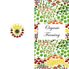 Agriculture greeting or business card. Fields background. Cartoon farming landscape.
