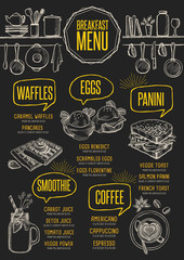 Menu breakfast restaurant, food template placemat.