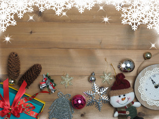 Decoration christmas with wooden background and snow . top view with copy space