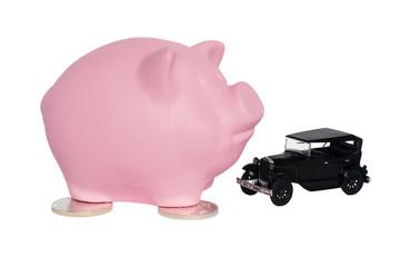 pink piggy pig with a car near