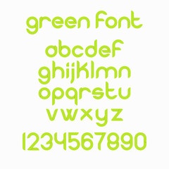Green font for your project such as eco, bio, nature, organic, natural product, healthy food, fresh food, organic product, vegan food, farm fresh food, gluten free logo and label. Vector font.