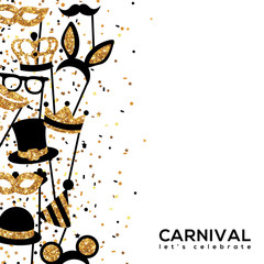 Banner Template with Golden Carnival Masks