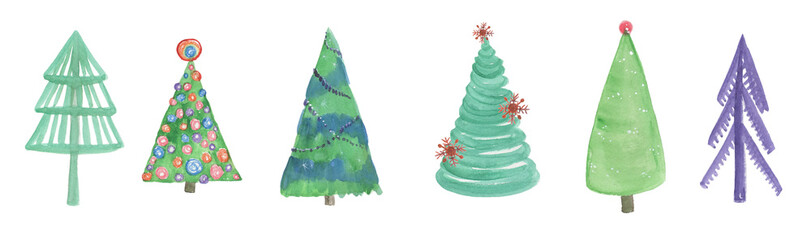 Watercolor painting set of Christmas tree