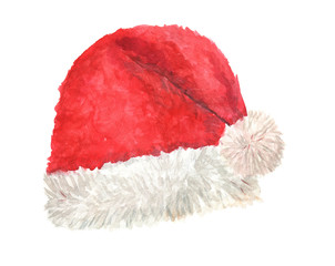 Watercolor painting Santa Claus red hat isolated on white background