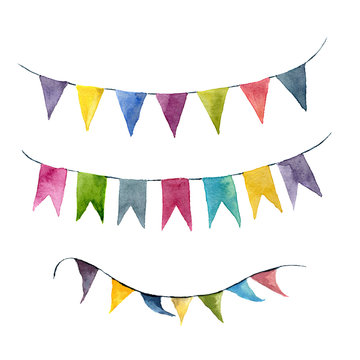 Watercolor bright color flags garlands set. Party, kids party or wedding decor elements isolated on white background. For design, prints or background