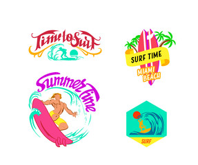 vector illustration the surf badges and stamp collection with a