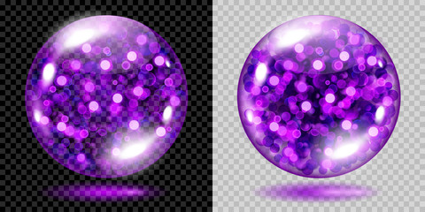 Two transparent spheres filled with violet glowing sparkles with bokeh effect. Spheres with violet sparkles, glares and shadows. For use on dark and light background. Transparency only in vector file
