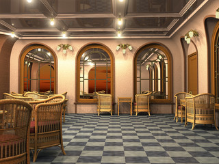3d render of calm and empty vintage cafe with sunset mirror reflections and mysterious lights