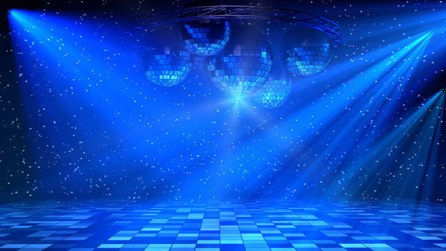 Blue disco dance floor with mirror balls, lattice circle and spot lights. 3d render.