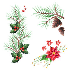 Christmas and New Year decoration set. Watercolor