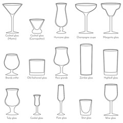 Cocktail glasses line art