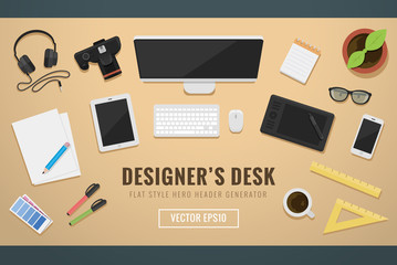 Designers desk header with gadgets hero image flat style elements vector illustration