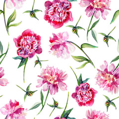 Pink peony flower hand drawn colorful illustration isolated on white, Seamless pattern, floral texture, decorative background ornament for cosmetic, design package, textile, wallpaper, wedding invite