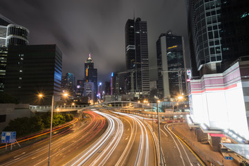 Traffic in city of hongkong at Rush hours