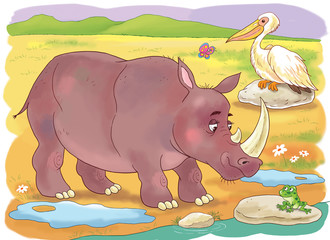At the zoo. Funny African animals. Cute rhinoceros, pelican and little frog. Illustration for children. Coloring book. Coloring pages. Cartoon characters.