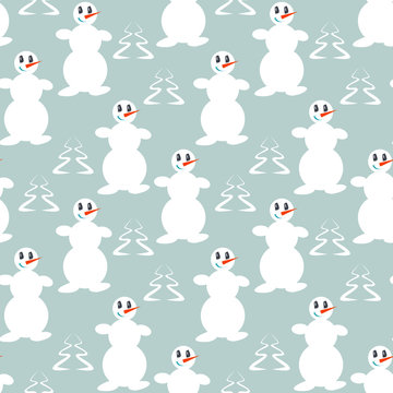 Funny dancing snowmen, Seamless winter background with silhouettes of snowmen and trees