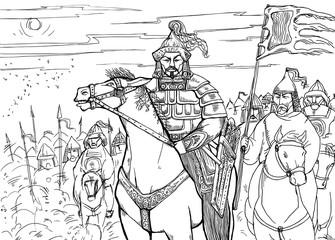 Khan Mongolian nomad on horseback and his horde