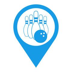 Icono plano localizacion bolos azul