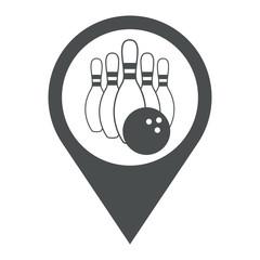 Icono plano localizacion bolos gris