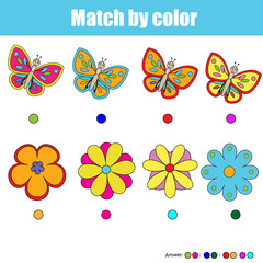 Matching children educational game, match by color