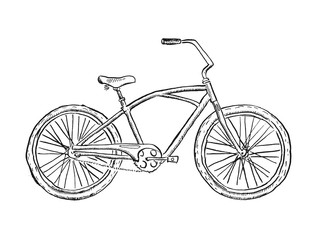 Old bicycle sketch illustration
