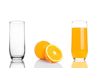Glass of healthy organic orange juice on white