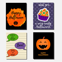 Halloween vector vertical banners, greeting cards with holiday symbols. Party invitations