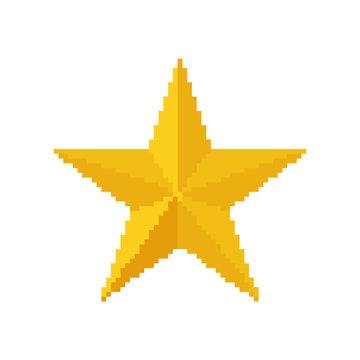 Gold star, 8 bit pixel. vector illustration