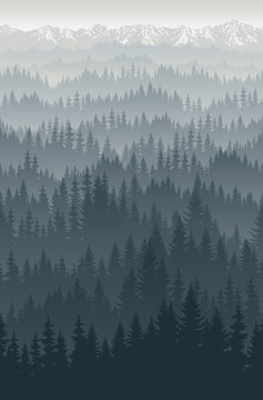 vector mountains forest with fog background texture seamless pattern