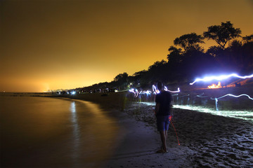 mass walk on the beach the night/ mass walk on the beach the night of the Baltic Sea