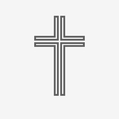 Black christian cross icon. Vector illustration.