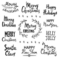 Merry Christmas, Happy New Year, Happy Holidays , Holly Jolly , Santa Claus. Hand Drawn Lettering Design Set.