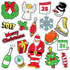 Merry Christmas Badges, Patches, Stickers - Santa Claus Christmas Tree Gifts and Angel in Pop Art Comic Style. Vector illustration