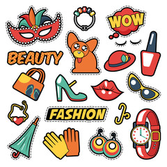 Fashion Girls Badges, Patches, Stickers - Comic Bubble, Dog, Lips and Clothes in Pop Art Comic Style. Vector illustration