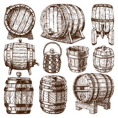 Wooden barrel vector isolated