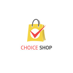 Choice shop. Shopping, sale, discount, shop or store web element. Company logo.