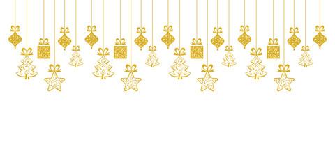 Golden hanging christmas decoration