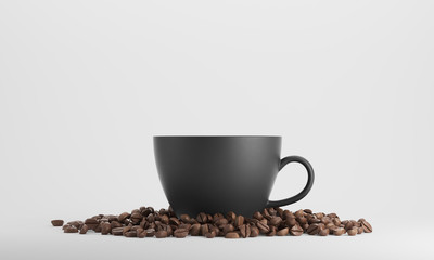 Wall Murals Cafe Black cup of coffee against white background