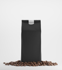 Black pack of coffee against white background