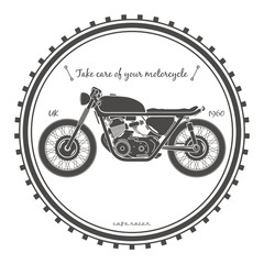 Old vintage motorcycle logo. cafe racer theme