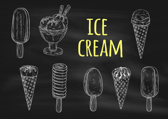 Ice cream chalk sketch icons on blackboard