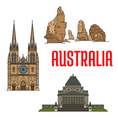 Australian buildings and landmarks icons